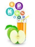 Χυμός και βιταμίνες της Apple Στοκ εικόνα με δικαίωμα ελεύθερης χρήσης