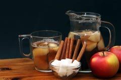 Χυμός κανέλας, ζάχαρης και μήλων Στοκ Φωτογραφία