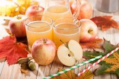 Χυμός, μήλα και φύλλα σφενδάμου της Apple Στοκ φωτογραφία με δικαίωμα ελεύθερης χρήσης