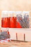 Χυμός, μούρα και lavender σε ένα καλάθι αχύρου Στοκ Φωτογραφία