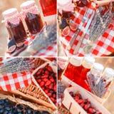 Χυμός, μούρα και lavender σε ένα καλάθι αχύρου Στοκ φωτογραφίες με δικαίωμα ελεύθερης χρήσης