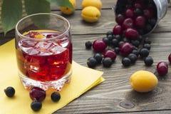 Χυμός μούρων με τα φρούτα στον κάδο Στοκ Εικόνες