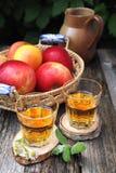 Χυμός της Apple και κόκκινα μήλα Στοκ Εικόνες