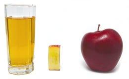 Χυμός της Apple και μήλο και κομμάτι μήλων Στοκ Εικόνα