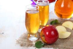 Χυμός της Apple και φρέσκα κόκκινα μήλα Στοκ Εικόνες