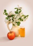 Χυμός της Apple, μήλο και λουλούδια Στοκ φωτογραφία με δικαίωμα ελεύθερης χρήσης