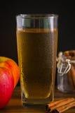 Χυμός της Apple με την κανέλα/το χυμό της Apple/το χυμό της Apple με την κανέλα στο μαύρο υπόβαθρο Στοκ Φωτογραφίες