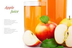 Χυμός της Apple στο βάζο & το κείμενο γυαλιού Στοκ Φωτογραφίες