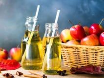 Χυμός της Apple στο μπουκάλι γυαλιού για την έννοια ποτών φθινοπώρου και πτώσης Στοκ Εικόνες