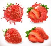 Χυμός φραουλών Νωποί καρποί, τρισδιάστατο διανυσματικό εικονίδιο Στοκ Εικόνα