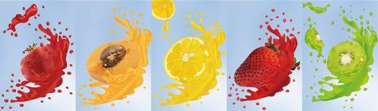 Χυμός φρούτων Ρεαλιστικό ακτινίδιο φρούτων, βερίκοκο, ρόδι, λεμόνι, φράουλα r Καθορισμένοι παφλασμοί με ελεύθερη απεικόνιση δικαιώματος