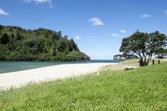 Χυσίματα εκβολών ποταμού Wentworth στο Ειρηνικό Ωκεανό Whangamata Coromandel Νέα Ζηλανδία NZ Στοκ Φωτογραφία