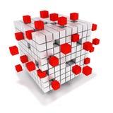 Χωρίστε σε τετράγωνα το σωρό και τους ενιαίους κόκκινους κύβους Στοκ εικόνα με δικαίωμα ελεύθερης χρήσης