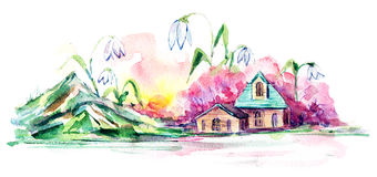 χωριό άνοιξη Στοκ Φωτογραφία