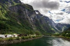 Χωριό Βίκινγκ Gudvangen στη Νορβηγία Στοκ Εικόνες