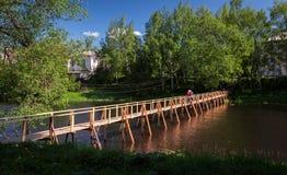 Χωριό γέφυρα ξύλινη Στοκ φωτογραφίες με δικαίωμα ελεύθερης χρήσης