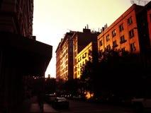 χωριό ηλιοβασιλέματος Στοκ Εικόνες