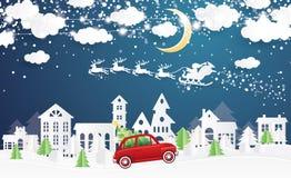 Χωριό και Άγιος Βασίλης Χριστουγέννων στο έλκηθρο στο ύφος περικοπών εγγράφου απεικόνιση αποθεμάτων
