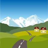 Χωριό στο βουνό ελεύθερη απεικόνιση δικαιώματος
