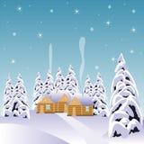 Χωριό στο ξύλο χιονιού διανυσματική απεικόνιση