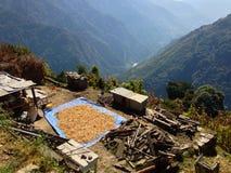 Χωριό στο οδοιπορικό Annapurna βουνών των Ιμαλαίων στοκ εικόνα