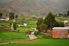 Χωριό στο υψηλό οροπέδιο περουβιανού Στοκ Φωτογραφία