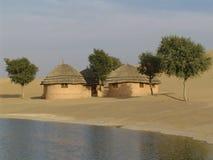 χωριό της Ινδίας Rajasthan ερήμων Στοκ Εικόνες
