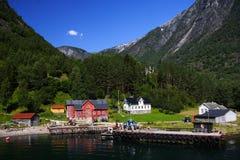 χωριό της Νορβηγίας φιορδ Στοκ Εικόνες