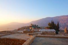 Χωριό της Dana κατά τη διάρκεια του ηλιοβασιλέματος στην επιφύλαξη φύσης βιοποικιλότητας της Dana στην Ιορδανία, Μέση Ανατολή στοκ εικόνα