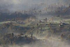 Χωριό της Misty του cemoro lawang, Bromo Ινδονησία Στοκ Εικόνες