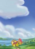 χωριό τοπίου Ελεύθερη απεικόνιση δικαιώματος