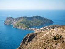 Χωριό Assos στο νησί Kefalonia, Ελλάδα Στοκ Φωτογραφίες