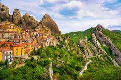Χωριό Castelmezzano Apennines Dolomiti Lucane Βασιλικάτα, Στοκ Φωτογραφία