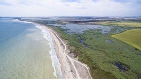 Χωριό Durankulak άνωθεν, ακτή Μαύρης Θάλασσας Στοκ εικόνες με δικαίωμα ελεύθερης χρήσης