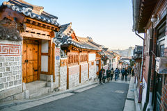 Χωριό Hanok Bukchon στη Σεούλ, Νότια Κορέα στοκ εικόνες