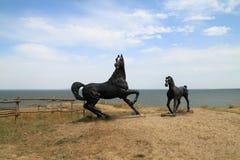 Χωριό, Taman στην ακτή Tamanskogo ενός κόλπου Μαύρης Θάλασσας Στοκ Φωτογραφία