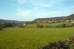 Χωριό Uley, γκρεμός λόφων Cotswold, Gloucestershire, UK στοκ εικόνα