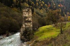 Χωριό Ushguli Καύκασος, ανώτερο Svaneti - περιοχή παγκόσμιων κληρονομιών της ΟΥΝΕΣΚΟ Γεωργία Στοκ φωτογραφία με δικαίωμα ελεύθερης χρήσης