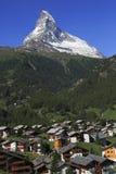 Χωριό Zermatt και Matterhorn, Ελβετία Στοκ Φωτογραφία