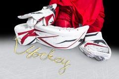 Χόκεϋ - οι δαντέλλες σαλαχιών συλλαβίζουν το χόκεϋ λέξης Στοκ φωτογραφία με δικαίωμα ελεύθερης χρήσης