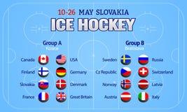 Χόκεϋ 2019 πάγου επίσης corel σύρετε το διάνυσμα απεικόνισης Εικονίδια σημαιών χωρών Διάσκεψη στρογγυλής τραπέζης ομάδας χόκεϋ πά απεικόνιση αποθεμάτων