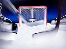 Χόκεϋ πάγου Μύγες σφαιρών στο στόχο Στοκ φωτογραφία με δικαίωμα ελεύθερης χρήσης