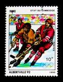 Χόκεϋ πάγου, Ολυμπιακοί Αγώνες 1992 - Albertville serie, circa 1990 Στοκ φωτογραφία με δικαίωμα ελεύθερης χρήσης