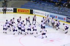 Χόκεϋ πάγου 2017 παγκόσμιο πρωτάθλημα Div 1A σε Kyiv, Ουκρανία Στοκ φωτογραφία με δικαίωμα ελεύθερης χρήσης