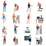 Χόμπι ανθρώπων Διανυσματικό σύνολο κινούμενων σχεδίων σχεδιαστών εικονογράφων συγγραφέων καλλιτεχνών φωτογράφων ευτυχές εφηβικό ελεύθερη απεικόνιση δικαιώματος
