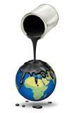 Χύνοντας πετρέλαιο πέρα από το στάζοντας πλανήτη Γη Στοκ φωτογραφίες με δικαίωμα ελεύθερης χρήσης