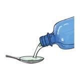Χύνοντας σιρόπι ιατρικής μπουκαλιών στο κουτάλι Στοκ Φωτογραφία