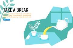 Χύνοντας τσάι διανυσματική απεικόνιση απεικόνιση αποθεμάτων