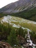 Χύσιμο ποταμών Κοιλάδα ποταμών βουνών Μπλε ποταμός Kucherla στο εθνικό πάρκο Belukha, βουνά Altai, Σιβηρία, Ρωσία στοκ εικόνα