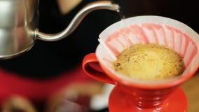 Χύστε πέρα από ολόκληρη διαδικασία μεθόδου καφέ την παρασκευάζοντας από το κορίτσι barista Το κορίτσι Barista χύνει το νερό στο φ απόθεμα βίντεο